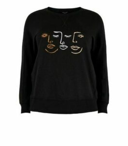 Black Sketch Print Sweatshirt New Look