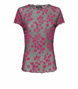 Pink Daisy Flocked Mesh Top New Look