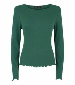 Teal Ribbed Long Sleeve Top New Look