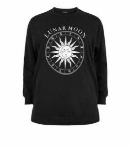 Curves Black Lunar Moon Slogan Longline Sweatshirt New Look
