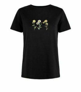 Black Wild Flower Print T-Shirt New Look