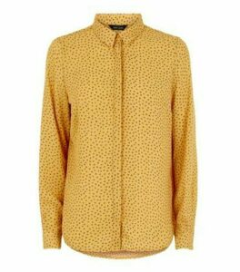 Mustard Heart Print Shirt New Look