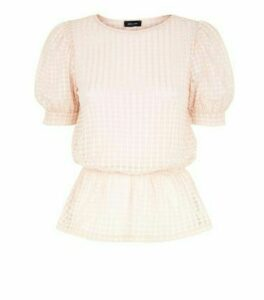 Pale Pink Grid Check Mesh Peplum Top New Look