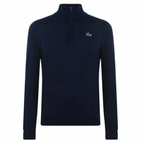 Lacoste Quarter Zip Knit Pullover - Navy