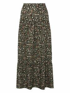 Ladies petite floral tiered maxi skirt  - Black