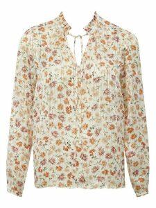 Women's Ladies floral foil tie neck top