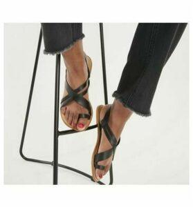 Office Serious - Tan Toe Loop Sandal Wf BLACK LEATHER