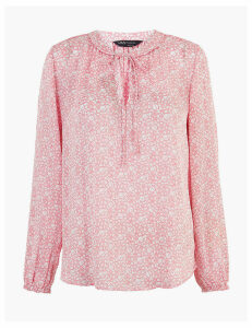 M&S Collection Ditsy Floral Tie Neck Blouson Sleeve Blouse