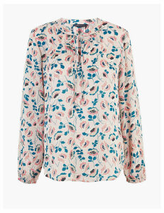 M&S Collection Floral Tie Neck Long Sleeve Blouse