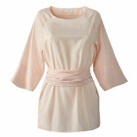 Tie Front Blouse with Kimono Sleeves