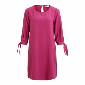 Plain Short-Sleeved Straight Knee-Length Dress
