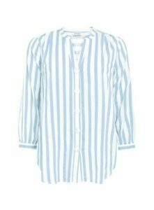 Blue Stripe Print Button Detail Shirt, Blue