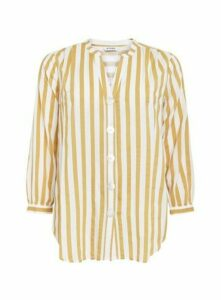 Yellow Stripe Print Button Shirt, Yellow