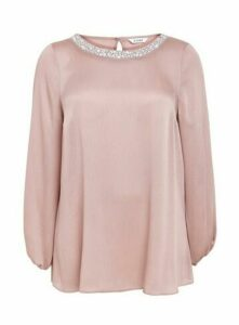 Blush Long Sleeve Trim Blouse, Blush