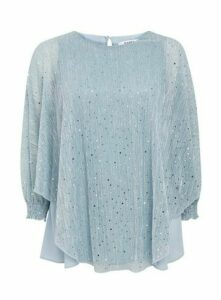 Blue Sparkle Overlay Top, Light Blue