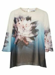 Ivory Floral Print Long Sleeve Top, Ivory