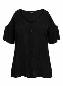Black Button Detail Cold-Shoulder Top, Black
