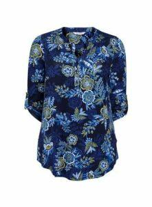 Navy Blue Floral Jersey Shirt, Navy