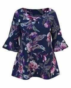 **Grace Navy Blue Floral Print Blouse, Purple