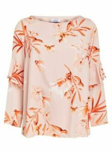 Blush Floral Print Frill Sleeve Top, Blush