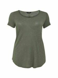 Khaki Scoop Neck T-Shirt, Khaki