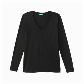Cotton V-Neck T-Shirt with Long Sleeves