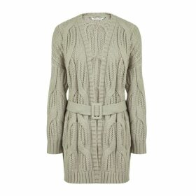 Mid-Length Open Cardigan with Belt
