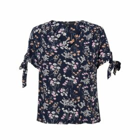 Lotus Floral Print Blouse with V-Neck and Short Tied-Sleeves