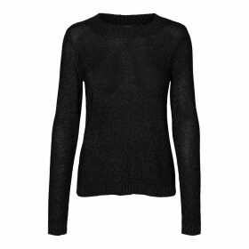 Metallic Fine Knit Jumper with Crew Neck