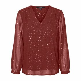 Polka Dot Blouse with Long Transparent Sleeves