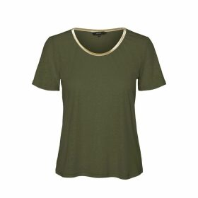 Linen Mix Short-Sleeved T-Shirt with Edging Stripe