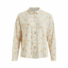 Leaf Print Blouse with Long Sleeves