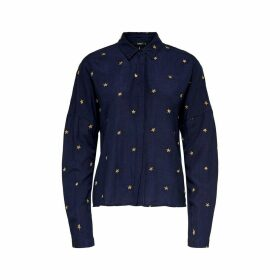 Star Print Blouse with Long Sleeves