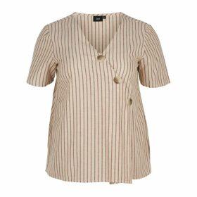 Striped V-Neck Short-Sleeved Blouse