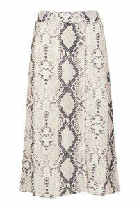 Womens Tall Woven Snake Print Split Midi Skirt - 18, Snake