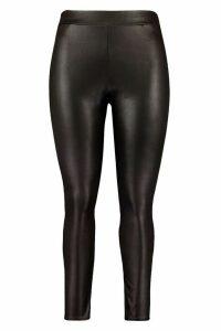 Womens Plus High Waist Wet Look Legging - Black - 20, Black