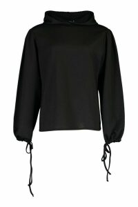 Womens Tall Ruched Sleeve Hoody - Black - 10, Black