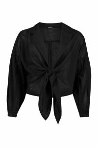 Womens Open Collar Tie Cotton Beach Shirt - Black - M, Black