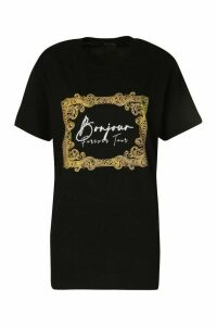 Womens Tall 'Bonjour' Slogan T-Shirt - Black - M, Black