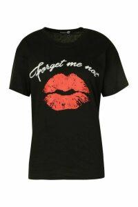 Womens Tall Lips Graphic T-Shirt - Black - M, Black