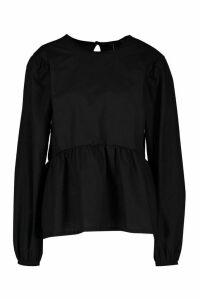 Womens Tall Poplin Smock Top - Black - 6, Black