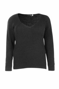 Womens Plus Oversized V Neck Jumper - Black - 26, Black