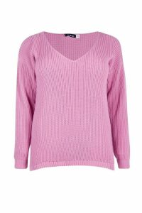 Womens Plus Oversized V Neck Jumper - Pink - 28, Pink