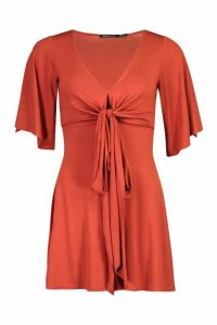Womens Tall Jersey Wrap Around Waist Playsuit - Orange - 8, Orange