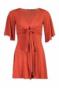 Womens Tall Jersey Wrap Around Waist Playsuit - Orange - 8, Orange