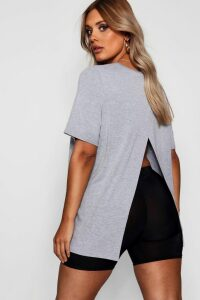 Womens Plus Jersey Split Open Back T-Shirt - Grey - 26, Grey