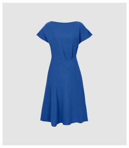 Reiss Victoria - Capped Sleeve Midi Dress in Blue, Womens, Size 16