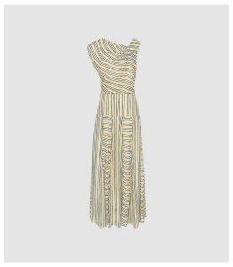 Reiss Raya - Striped Asymmetric Midi Dress in Multi, Womens, Size 16