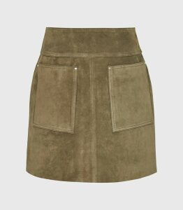 Reiss Elm - Suede Mini Skirt in Khaki, Womens, Size 16