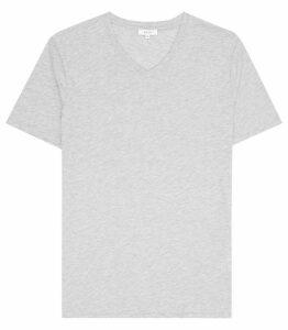 Reiss Dayton Marl - V-neck T-shirt in Grey Marl, Mens, Size XXL